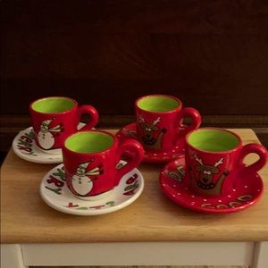 Our Name is Mudd Christmas mini cups and saucers